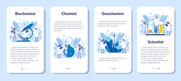 Banner-set für mobile anwendungen in der chemie. wissenschaftliches experiment im labor. wissenschaftliche ausrüstung, chemische forschung. biochemie und geochemie, isolierte vektorillustration