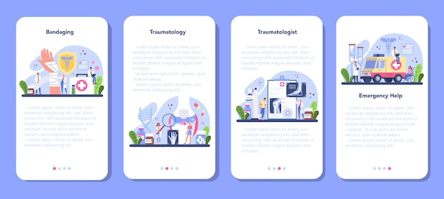 Banner-set für mobile anwendungen von traumatologen