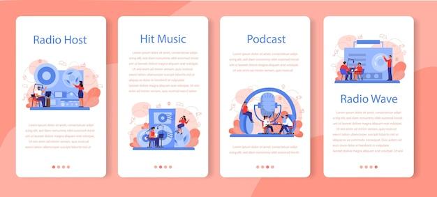 Banner-set für mobile radio-host-anwendungen. idee einer nachrichtensendung im studio. dj beruf. person, die durch das mikrofon spricht.