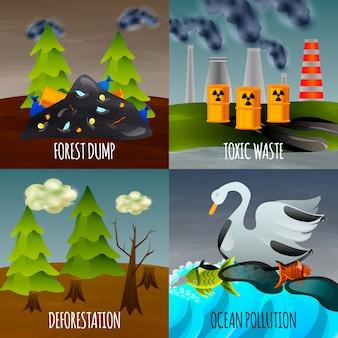Banner-set für ökologische probleme