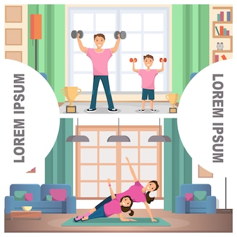 Banner set image fitness family training nach hause