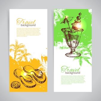 Banner-set mit bunten tropischen splash-hintergründen für die reise. feiertagsfahnen mit handgezeichneten skizzenillustrationen