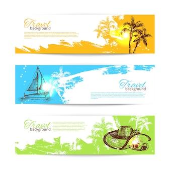 Banner-set von bunten tropischen splash-hintergründen der reise