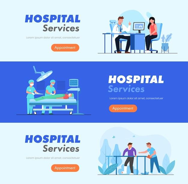 Banner-set von dienstleistungen mit ärzten und patienten im krankenhaus.