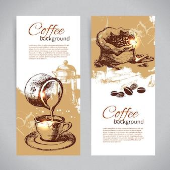 Banner-set von vintage-kaffee-hintergründen. speisekarte für restaurant, café, bar, kaffeehaus