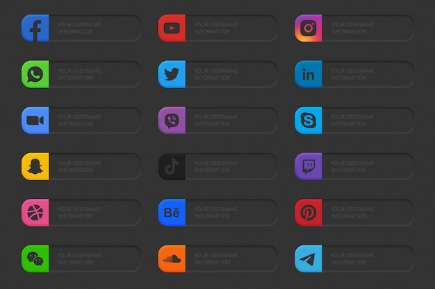 Banner social media lower third icons set