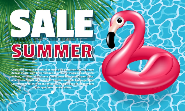 Banner summer sale. aufblasbarer kreis - rosa flamingo