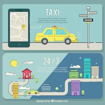 Banner taxis, von hand gezeichnet