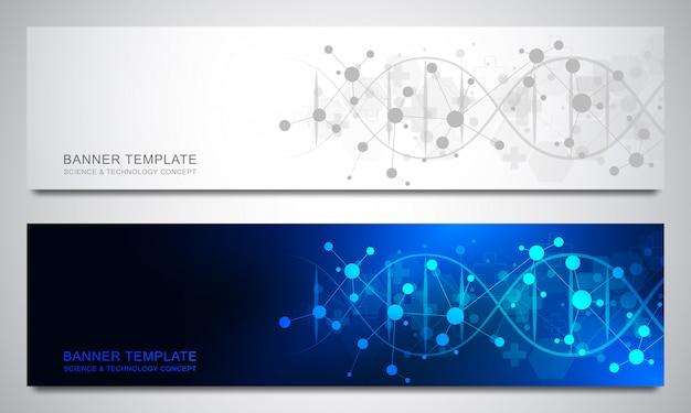 Banner und header für site mit dna-strang und molekülstruktur. gentechnik oder laborforschung. abstrakte geometrische textur für medizinisches, wissenschaftliches und technologisches design.
