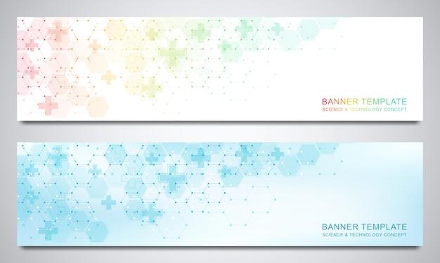 Banner und header für site mit medizinischem hintergrund und sechsecken. abstrakte geometrische.