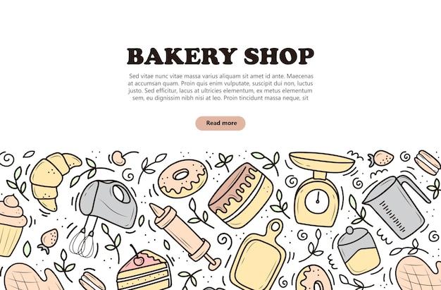 Banner von back- und kochwerkzeugen mixer kuchenlöffel cupcake-waagen