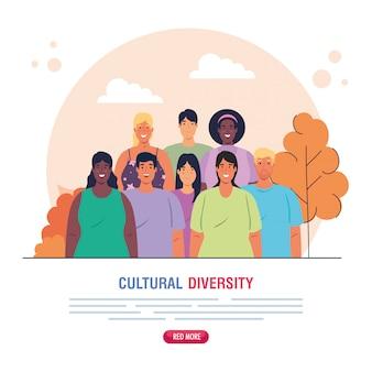 Banner von gruppenleuten zusammen auf szene natur, kultur und vielfalt konzept