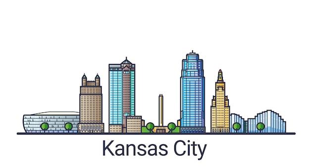 Banner von kansas city im trendigen stil der flachen linie. kansas city strichzeichnungen. alle gebäude getrennt und anpassbar.