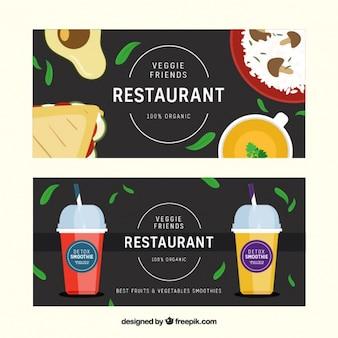 Banner von köstlichen speisen und getränken