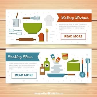 Banner von küchenutensilien in flaches design