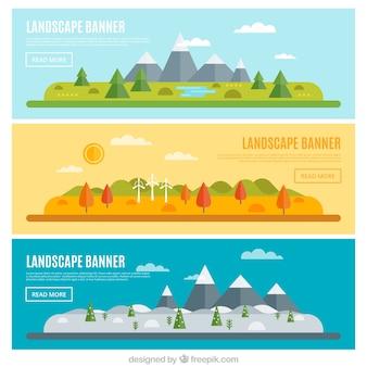 Banner von landschaften in den verschiedenen jahreszeiten