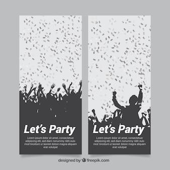 Banner von partycrowd mit silbernen konfetti