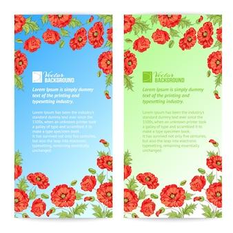 Banner von stilisierten mohnblumen