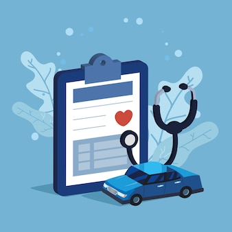 Banner von versicherungsfahrzeug und medizin
