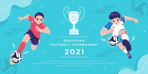 Banner vorlage des europäischen fußballturniers