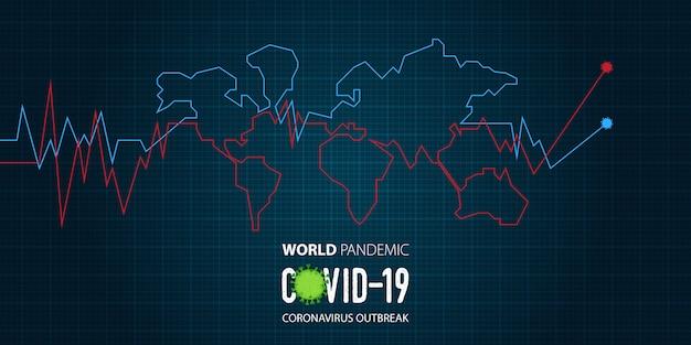 Banner-vorlage für coronavirus oder covid-19-ausbruch einer pandemie in der welt.