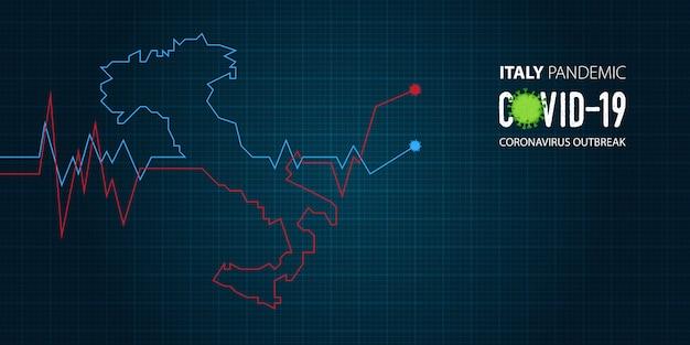 Banner vorlage für coronavirus oder covid-19-ausbruch einer pandemie in italien.