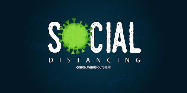Banner-vorlage für coronavirus oder covid-19 im social distancing-konzept.