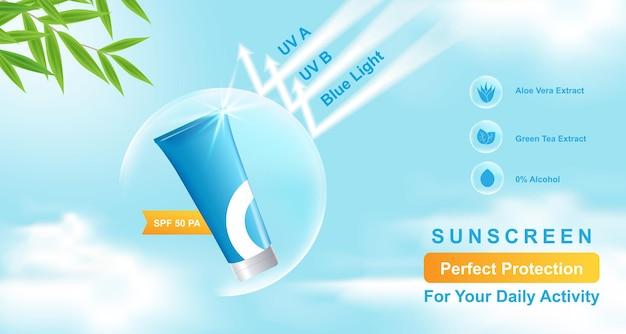 Banner-vorlage für die anzeige von kosmetischen produkten mit blauem himmelswolkenhintergrundsymbol, blatt, blasenschild