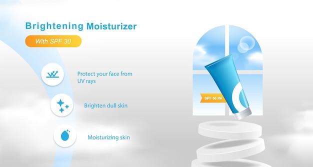 Banner-vorlage für die anzeige von kosmetischen produkten mit blauer himmelswolke, podiumsplattform, blase, wandtür