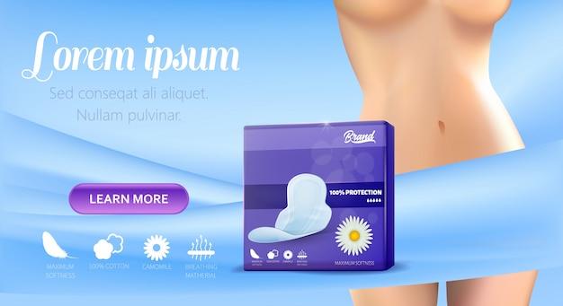 Banner-vorlage für die förderung der weiblichen hygiene-pads