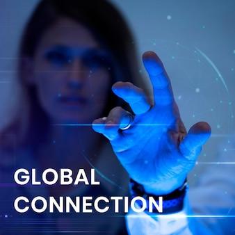 Banner-vorlage für globale verbindungen mit einem mann, der den hintergrund des virtuellen bildschirms berührt