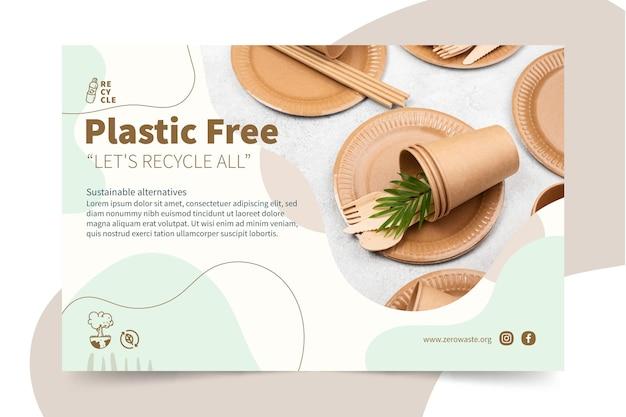 Banner-vorlage für kunststofffreie produkte Kostenlosen Vektoren