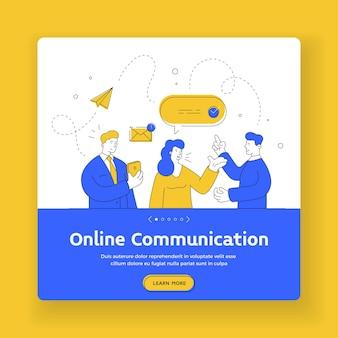 Banner-vorlage für online-kommunikation. flache linienkunstillustration von zeitgenössischen männern und frauen, die smartphone verwenden, um nachrichten während der online-kommunikation zu senden und zu lesen