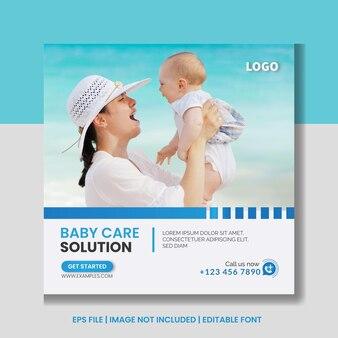 Banner-vorlage für social-media-posts für babypflege