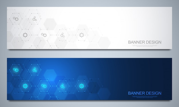 Banner vorlage für technologische und medizinische dekoration mit symbolen und symbolen. konzept für wissenschaft, medizin und innovationstechnologie.