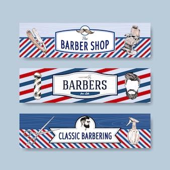 Banner vorlage mit friseur konzept design für werbung.