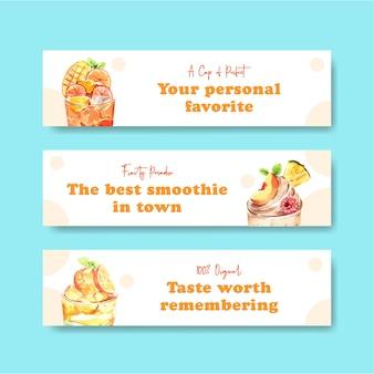 Banner vorlage mit früchten smoothies konzept