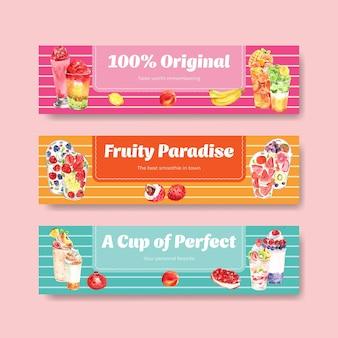 Banner vorlage mit früchten smoothies