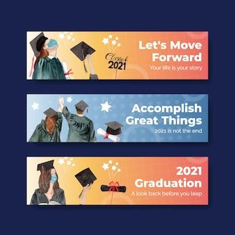 Banner vorlage mit klasse von 2021 im aquarellstil