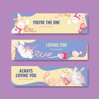 Banner-vorlage mit liebevollem konzeptentwurf für werbung und vermarktung aquarellillustration