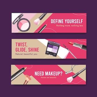 Banner-vorlage mit make-up-konzeptdesign für werbung und vermarktung von watercoclor
