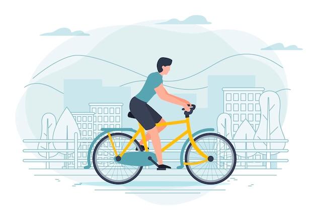 Banner vorlage mit mann auf einem fahrrad