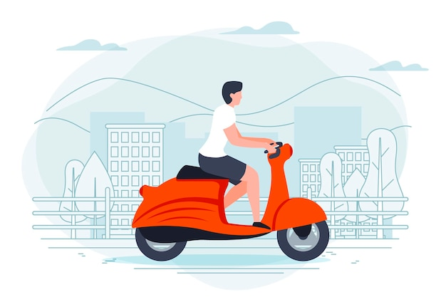 Banner vorlage mit mann auf einem motorrad