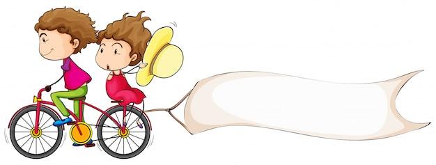 Banner-vorlage mit menschen fahrrad fahren