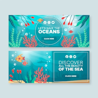 Banner vorlage mit ozeanen elementen