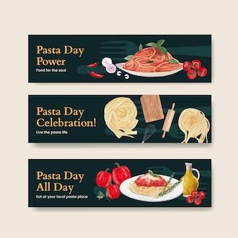 Banner-vorlage mit pasta cancept, aquarell-stil