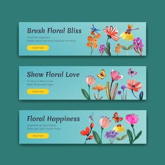 Banner vorlage mit pinsel blumen konzept design für werbung und marketing aquarell