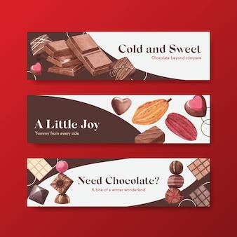 Banner vorlage mit schokoladenwinter