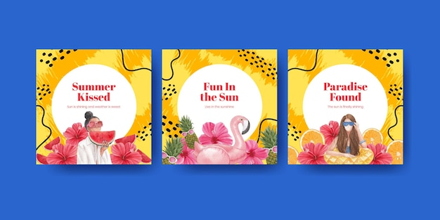 Banner vorlage mit sommer vibes