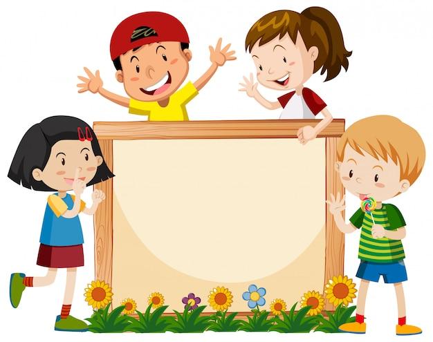 Banner-vorlage mit vielen kindern und blumen